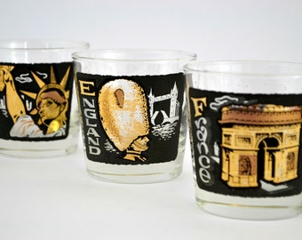 S/3 TWA Country/State Rocks Lowball Glasses by Libbey