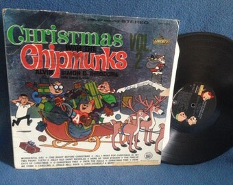 """RARE, Vintage, """"Christmas With The Chipmunks Vol. 2"""", Holiday Vinyl LP, Record Album, The Night Before, The Twelve Days Of, Jingle Bell Rock"""