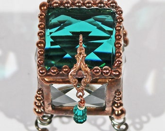 CLOSE-OUT - Emerald, Jewel, vintage, Fairy, Tooth Fairy, Treasure Box, Ring Bearer, Glass Box, Ring Box, Keepsake Box,