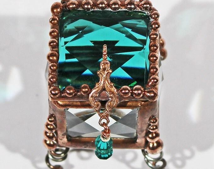 CLOSE-OUT - Emerald, Jewel, vintage, Fairy, Tooth Fairy, Treasure Box, Ring Bearer, Glass Box, Ring Box, Keepsake Box,