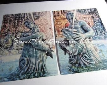 Las Vegas Nevada // Retro Vegas Artwork // Two Vegas Postcards // Vintage Inspired Fountain Sculptures // Greek