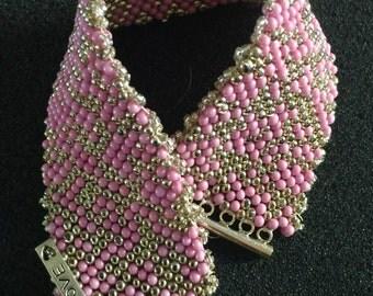Pink & Silver Peyote Bracele w/Charms