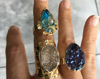Druzy rings, angelaura quartz ring, boho jewelry
