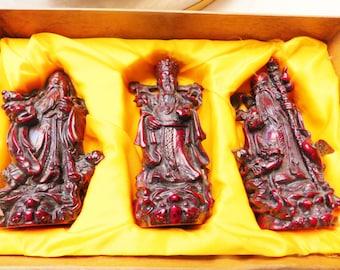 Shou-Shan Stone Ware Fortone Fame Longevity Gods Set, Fujian Province