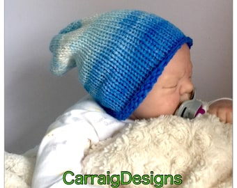 SPECIAL OFFER 30% OFF, Baby Boy Newborn 0-3 months cap hand knitted hippie slouch beanie unique kids  hats shower gift photo prop ooak blues