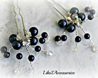 Pearl Hair Pins Hair Accessories Swarovski Navy Blue Hair Piece Set of 2 Bridal Hair Pin Wedding Headpieces Bridesmaid Hair Do Flower Clip