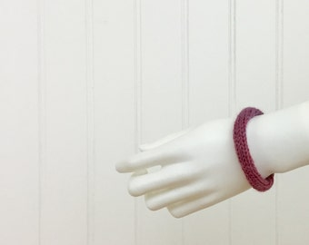 Raspberry Pink Hair Tie & Bracelet French Knit Wool Knitted I Cord Hair Elastic Ponytail Holder Boho Bun Wrap Stocking Stuffer Gift for Her