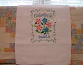 Columbine Seeds  Flour Sack Dish Towel