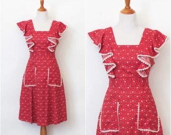 Vintage hand made red floral print dress