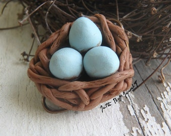 Goose Egg Nest- polymer clay charm wire connectors. goose egg green blue. brown twigs. rustic woodland bird nest charm. Jettabugjewelry