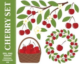 70% OFF SALE Digital Cherry Clip Art - Leaves, Branch, Flower, Bloom, Wreath, Berry, Cherry Clip art