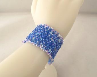 Blue Tweed Herringbone Cuff Bracelet