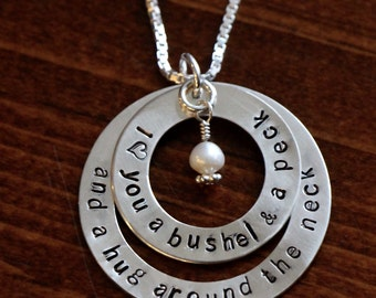 I Love you A Bushel and Peck Necklace - Sterling Silver- Layer Necklace - Hand Stamped - Kids Names - Mommy or Grandma Christmas Jewelry