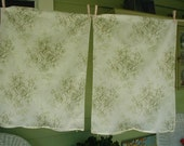 Vintage Cottage Chic Pillow Shams, Floral Print, Rose Bouquets, Pastel Olive Green and Pastel Taupe