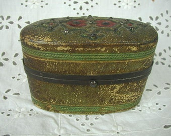 Antique Small Hinged Box, Fancy Lid, May have held Perfume Bottles, Late 1800's