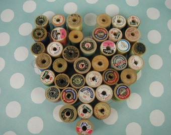 Vintage Sewing Thread, 40 Spools of Multi-Color Thread, Assorted Colors, Wooden Spools