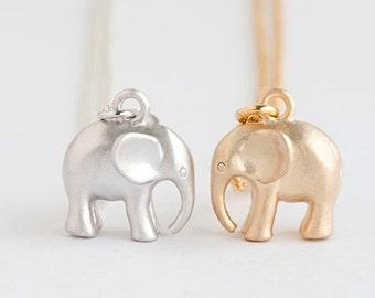 Tiny Baby Elephant Necklace, Gold / Silver, Animal Jewelry, AJ
