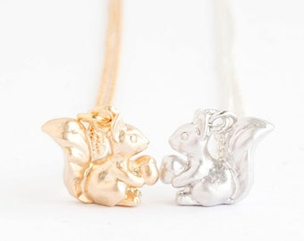 Tiny Baby Squirrel Necklace, Gold / Silver, Chipmunk Animal Jewelry, AJ