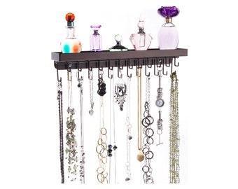 Wall Mount Necklace Holder Organizer Jewelry Storage Rack Display - Angelynn's Schelon Necklace Rack (Rubbed Bronze)