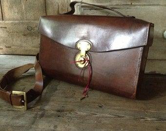 Leather Briefcase Saddle Bag Handbag Satchel Crossbody Original Key Brass