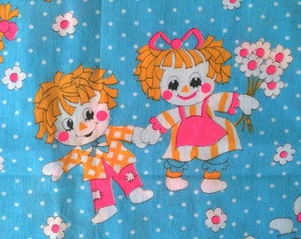 60s Big Eyed Raggedy Ann Andy Vintage Fabric Cute Hot Pink Neon Daisy Flower Print Bright Blue Polka Dots Mid Century Kitsch Cute Bright Fun