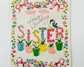 Sister Birthday Card Unused / Vintage Happy Birthday Embossed Card Flowers Unsigned, unused 1940-1950 with envelope