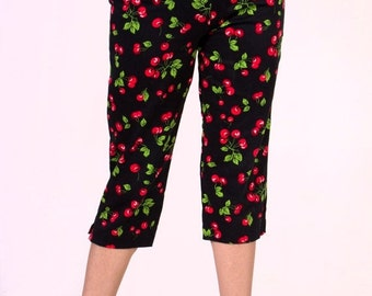 CLEARANCE In STOCK Black Cherry Capri Pants size XS-Xl