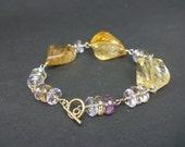 Gemstone Citrine and Ametrine 14kt Yellow Gold Filled Wire Wrap Bracelet, Citrine Faceted Big Stone, Ametrine Faceted Rondelle