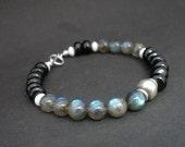 Black Tourmaline Rondelle - Labradorite AA Round- 925 Sterling Silver Toggle Clasp Bracelet, Black Tourmaline Bracelet, Labradorite Bracelet