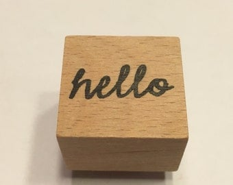 small hello rubber stamp, 22 mm (A11/1)