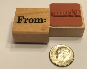 """small """" From: """" rubber stamp, 15 mm (F1)"""