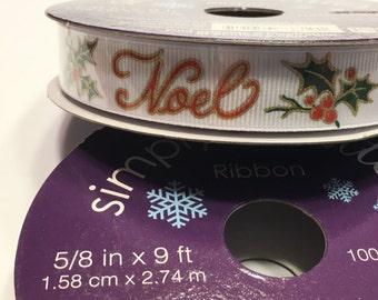 9 feet of NOEL Christmas ribbon, 5/8 inch wide  (R5)
