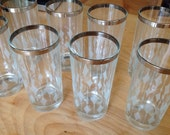 High ball Cocktail Glasses Set of 8, Silver-rimmed Diamond Pattern
