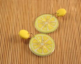 Avon Tooty Fruity Yellow Lemon Dangle Pierced Earrings - Vintage 1993