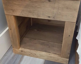 Raw Reclaimed recycled wood 1  secret drawer open display nightstand side end table pet cubby bed