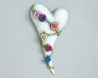 """Heart, ceramic wall art, Jacquline Hurlbert, one of a kind, unique, title: """"Flower Song"""""""