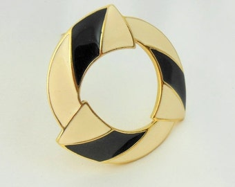 Holiday Sale Trifari Brooch Circle Gold Black and White