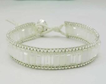 Clear crystal wrap bracelet.