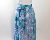 Rayon Drawstring  Maxi Skirt, Tie Dyed, Ice Dyed,  Royal Blue And Periwinkle, Agate Design, Made To Order