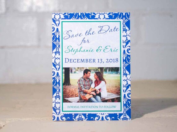 Stephanie Save the Date Cards, Damask Photo Engagement Announcements, Blue & Green Wedding