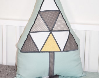 Tree Pillow,  Triangle Tribal Cushion,  Stuffed Evergreen   for Native American  Nursery,Tribal Kids Roomn Decor, teal yellow gray
