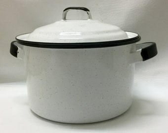 Vintage White Speckled Stock Pot with Lid