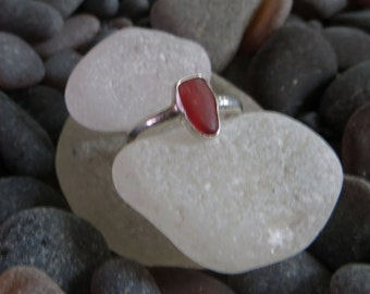 Size 9, Cherry Red Sea Glass Ring, Sterling Silver