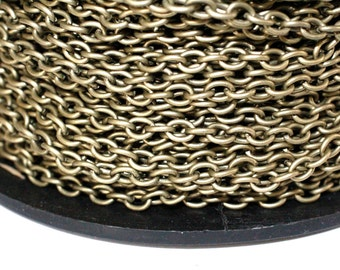 32ft Antique Brass Chain 4.5x6.2mm Cable Chain unsoldered links