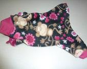Small - Fleece Doggy Pajamas, Monkey PJs, Love Monkey Pajamas, Monkey Onesies, Winter Pajamas, Small Pajamas