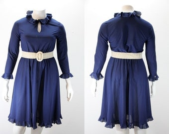 XL Vintage Dress -Navy with Ruffles
