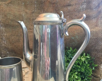 Priced Reduced Made in England Pewter Tea Pot Sugar and Creamer Set