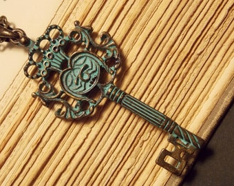 Verdigris Skeleton Key Necklace