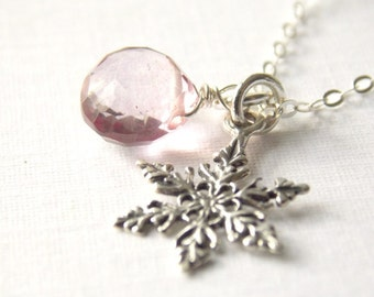 Winter Snowflake Sterling Silver Necklace. snow, white wedding, gift