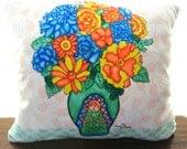 Art Pillow: Bird Flowers Spring Doll Pillow Child Pillow Handmade Textile Home Decor Watercolor Local Artist Pink Blue Nursery